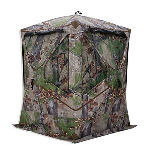 Barronett Blockout 300 Pop Up 3 Person Hunting Ground Blind Tent, Backwoods Camo