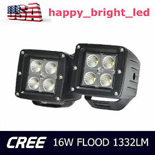 2X 3INCH 16W Cube Pods Flood CREE LED Work Light Bumper Off-road Jeep Square UTE