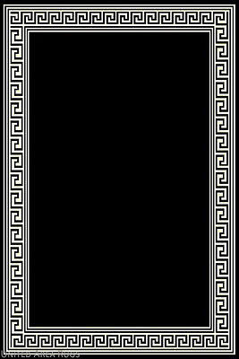8x10 Area Rug Modern Greek Key Design Solid Black With Border Size 7 X10 New Ebay
