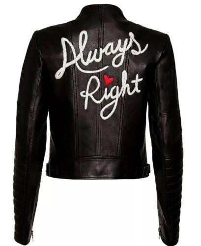 Alice   Olivia Gamma Always Right Biker Jacket Lamb Leather Black Size M NWOT