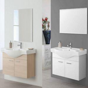 Arredo Bagno Rovere Grigio.Mobile Arredo Bagno 85 Sospeso Rovere Grigio Bianco Specchio