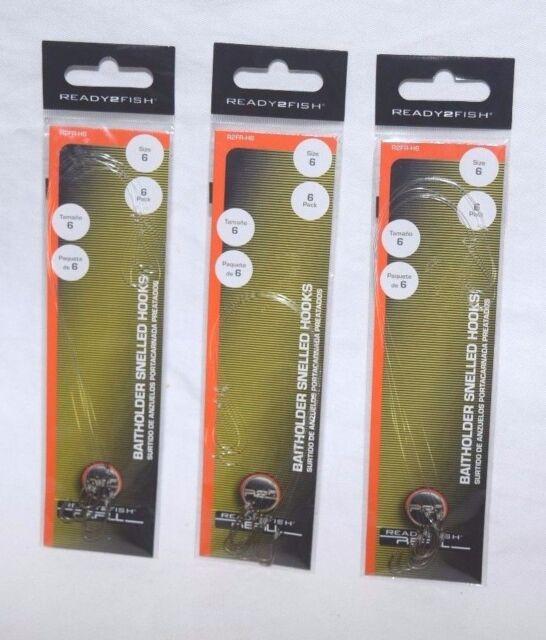 New Size 4 36 Total Hooks Danielson Snelled Gold Aberdeen Hooks 6 Packages