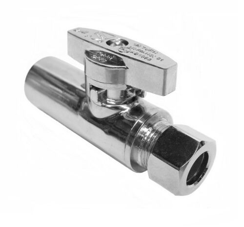 "Straight Stop Valve 1//4-Turn 1//2/"" Sweat x 3//8/"" OD Compression LEAD-FREE"