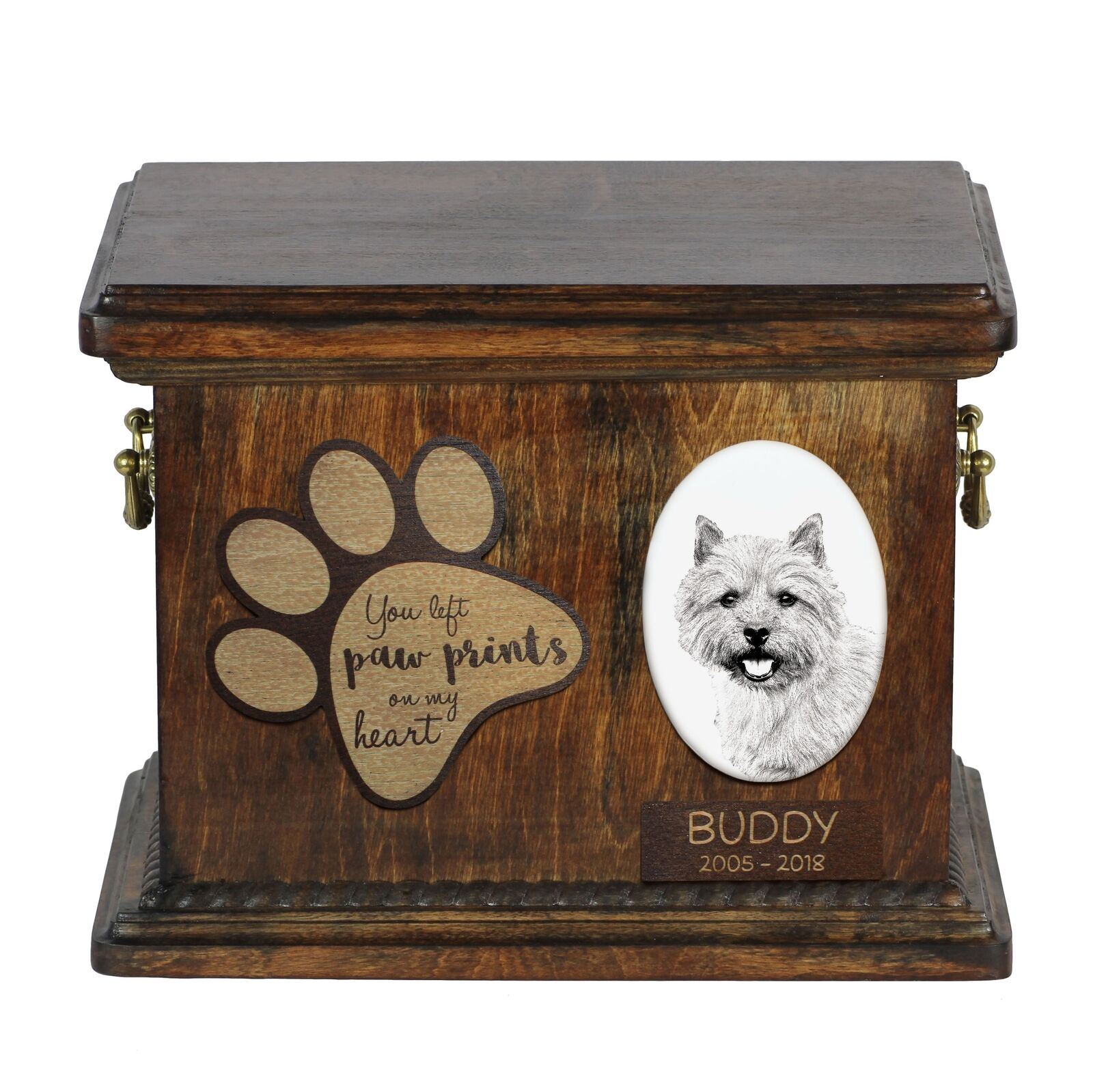 Norwich Terrier - Urn for dog's ashes with ceramic plate and description, ArtDog