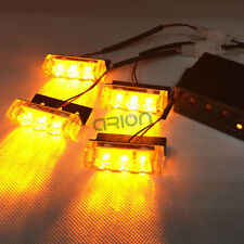 4X3 12V LED Amber Car Police Strobe Flash Light Emergency 3 Flashing Mode Yellow