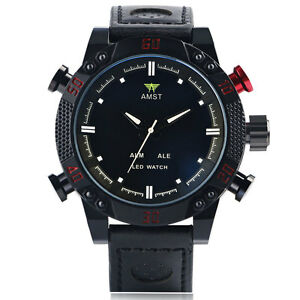 AMST-LED-Digital-Date-Black-Genuine-Leather-Band-Analog-Men-Quartz-Wrist-Watch