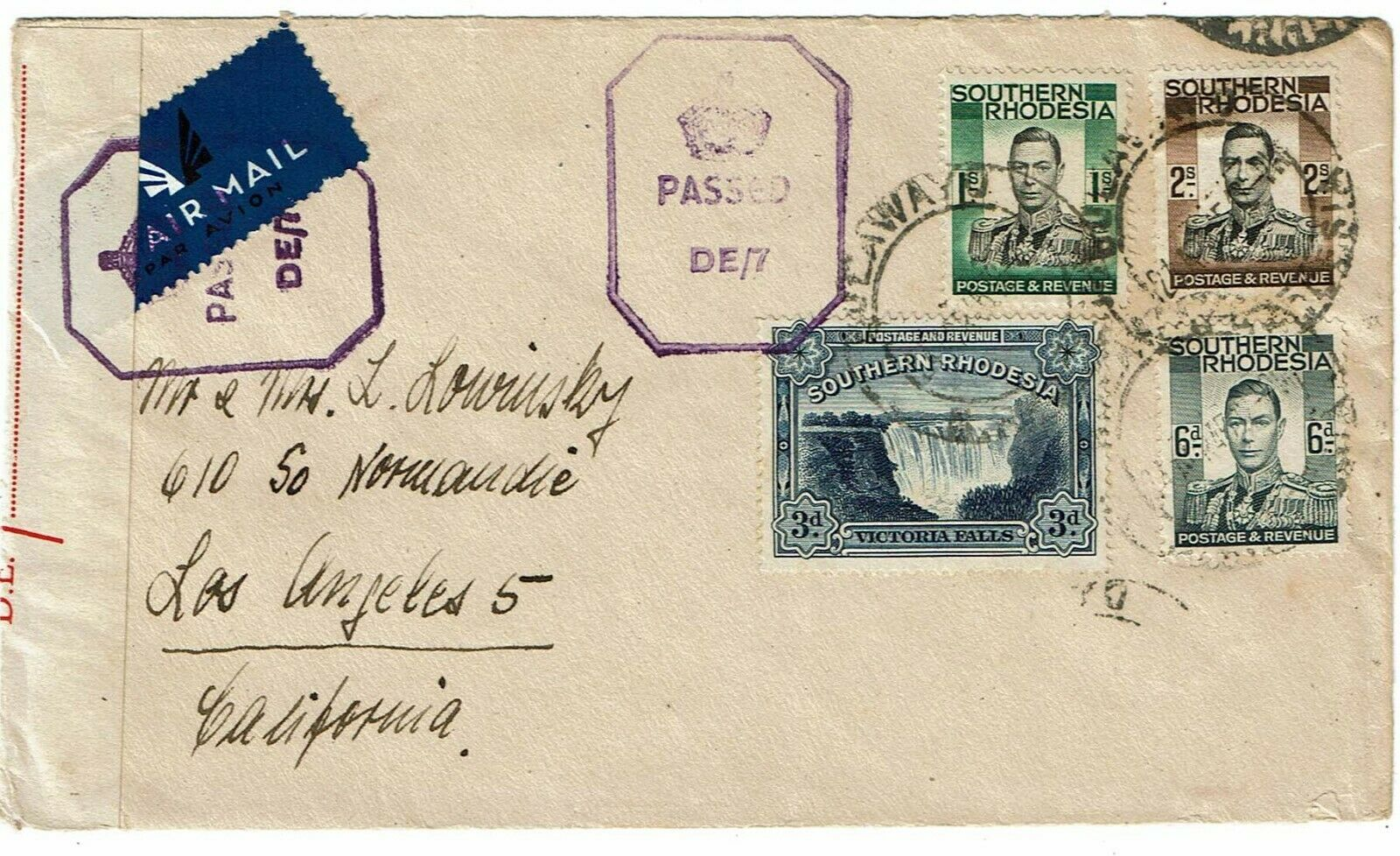 Southern Rhodesia 1945 Bulawayo cancel on airmail cover to the U.S., censored