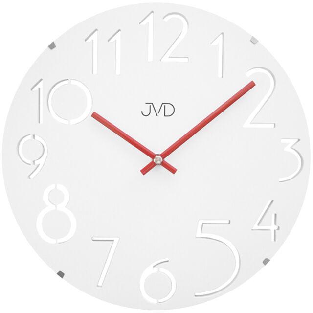 JVD HT076 Wanduhr Quarz analog weiß rund modern Glas