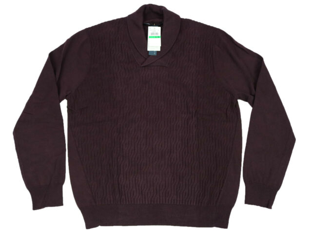 a451520e7 Perry Ellis Mens Sweater Large Purple Cable Shawl Long Sleeve Cotton ...