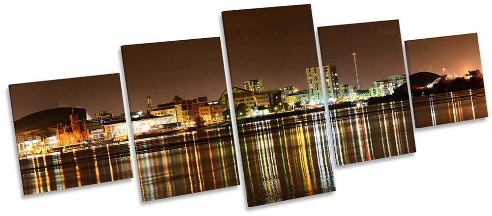 Cardiff Bay Skyline Picture CANVAS WALL WALL WALL ART Five Panel afb3ab