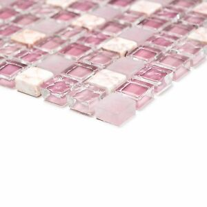 Das Bild Wird Geladen Mix Rose Matt Glaenzend Glas Marmor Mosaik Fuer