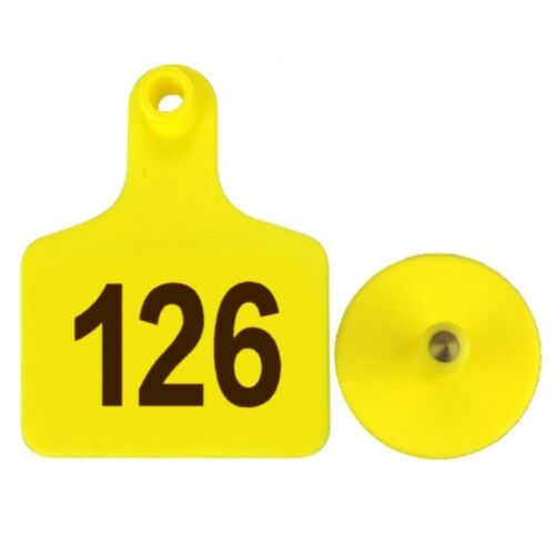 100pcs TPU Laser Curve Cattle Ear Tag Tagger Copper Head     yellow with number