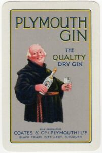 Playing-Cards-Single-Card-Old-Coates-PLYMOUTH-GIN-Advertising-Art-FRIAR-ABBOT-1