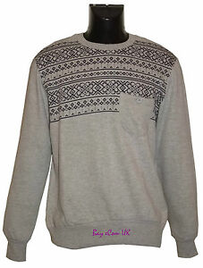 New Men's Aztec Crew Neck Fleece Pullover Jumpers Tops Sweatshirts Size S to XL