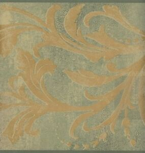 Wallpaper-Border-Gold-Acanthus-Scroll-On-Green-Faux