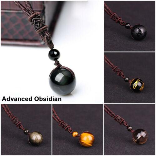 Natural Stone Necklaces/&Pendants For Women And Men Black Obsidian Eye Iris Ball
