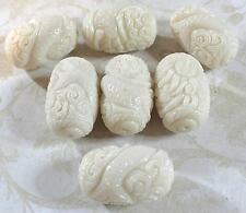 Two Mermaid Creamy White Carved Resin Coral Focal Pendants 30x20mm  B32