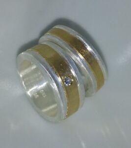Partnerringe-Eheringe-8-mm-u-6-mm-Silber-999-Gold-585-Diamant-0-05-Carat