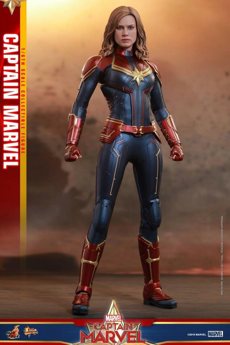 Hot Juguetes MMS 521 Capitán Marvel Brie Larson LED Ojos casco 1 6 Figura Modelo