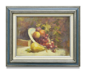 NY-Art-12x16-Impressionist-Fruit-Still-Life-Original-Oil-Painting-with-Frame