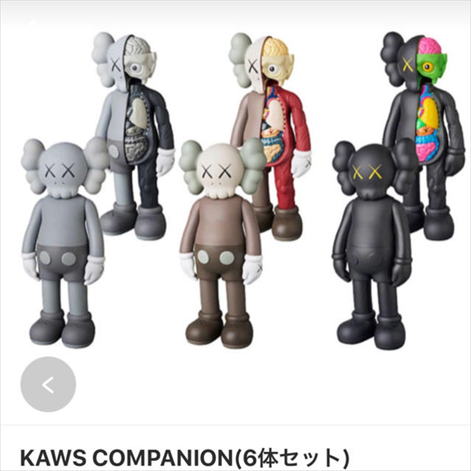 MEDICOM TOY KAWS COMPANION FLAYED OPEN EDITION Figure 6 set NEW