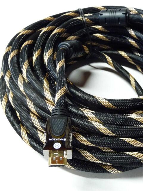 Brackton 15 M HDMI Cable Ultra HD 4K 3D Metal Connector 99.99% Copper 2160p