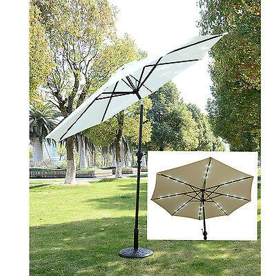 Outsunny 2.7m 24 LED Lights Patio Sun Umbrella Sunshade Garden Parasol Solar New