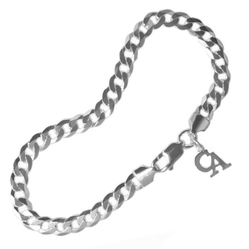 """Sterling Silver #534-14 Size 8/"""" Heavy Curb Link Bracelet Recovery Symbol"""