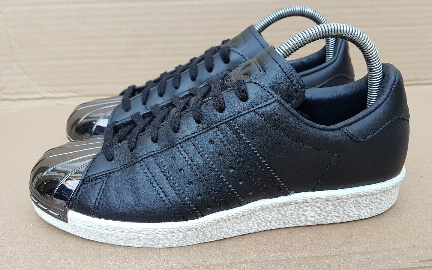 ADIDAS SUPERSTAR 80'S TRAINERS ALL BLACK WITH SILVER METAL TOE IN SIZE 5 UK RARE