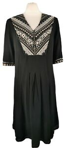 Monsoon-Size-12-Black-Embroidered-Short-Sleeve-Beaded-V-Neck-Flared-Dress-Boho