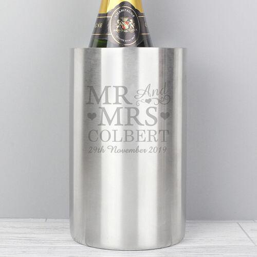 Personnalisé Mr /& Mrs En Acier Inoxydable Vin Refroidisseur Mariage Anniversaire Idée Cadeau