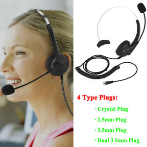 Call Center Telephone Headset Microphone Wired Phone Headset For Cordless Phones Ebay