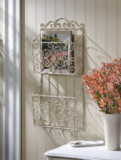 cottage charm weathered finish distressed dual magazine wall rack 10015957