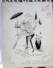 original VINTAGE DRAWING INDIA INK & PENCIL PIN UP 60's erotic signed  AG BADERT