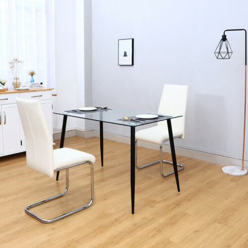 Glass Dining Table and PU Leather Padded Chairs Set Kitchen Furniture 2/4Seaters
