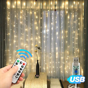 300LED-Party-Wedding-Curtain-Fairy-Lights-USB-String-Light-Home-w-Remote-Control
