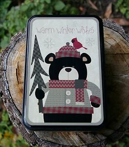 winter bear knit pattern metal tin warm winter wishes. Black Bedroom Furniture Sets. Home Design Ideas