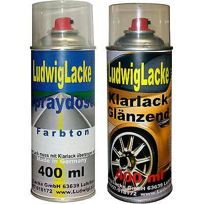 2 Spraydosen im Set Autolack Klarlack je400ml BMW 303 Cosmosschwarz Metallic