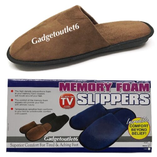 MENS MEMORY FOAM SLIPPERS SUPER COMFORT FOR TIRED/& ACHING FEET 3 DIFFERENTC0LORS