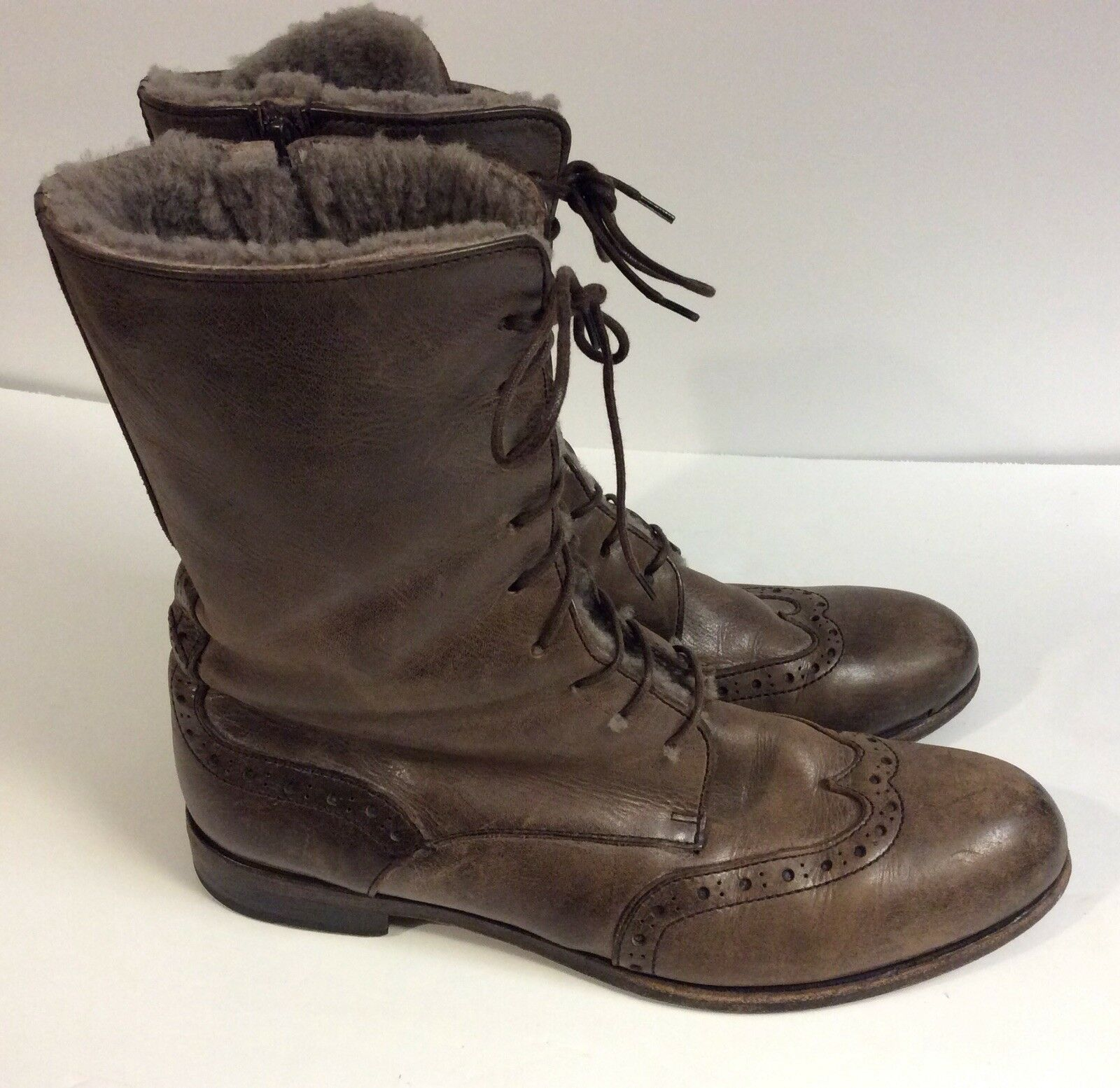 MOMA Taupe Leather Lace Up Wingtip boots Fur sz 40 US 8 N Made in