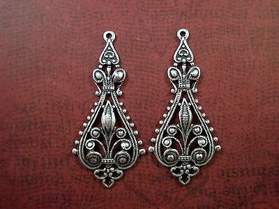Ornate Oxidized Silver Plated Brass Dangle Stampings (2) - SOS5784