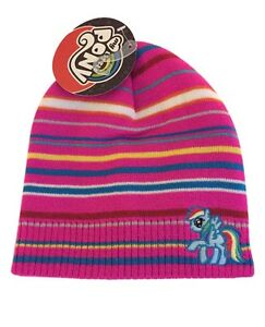 5cd708197 Details about My Little Pony Dash Pink Striped Knit Beanie Winter Hat NWT  Hasbro