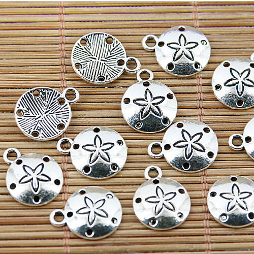 28pcs tibetan sivler tone 12mm round with holes charms EF1575