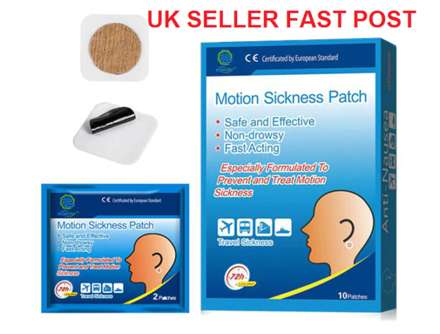 MOTION SICKNESS Mini PATCHES ANTI NAUSEA anti-vomiting TRAVEL RELIEF Car Air UK