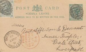 SIERRA LEONE:1895 HALFPENNY Postal Card H &G 5 used 1895 to UK-LIVERPOOL PACKET
