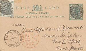 SIERRA LEONE:1895 HALFPENNY Postal Card H &G 5 used 1895 to UK-LIVERPOOL PACKET