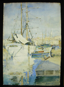 Charles-Bourillon-Watercolour-Old-Rigging-in-the-Port-of-Marseille-Provence