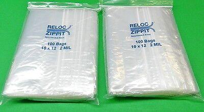"""12/"""" x 15/"""" Ziplock Bags Large Size Clear 2 Mil 200 Bags Reclosable Reloc Zippit"""