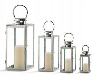 LANTERNE LAMPION PORTE BOUGIE CHROME ARGENT DECO GLAMOUR