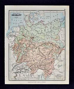 Baltic Europe Map.1889 Hughes Map Physical Germany Bavaria Alps Danube Austria